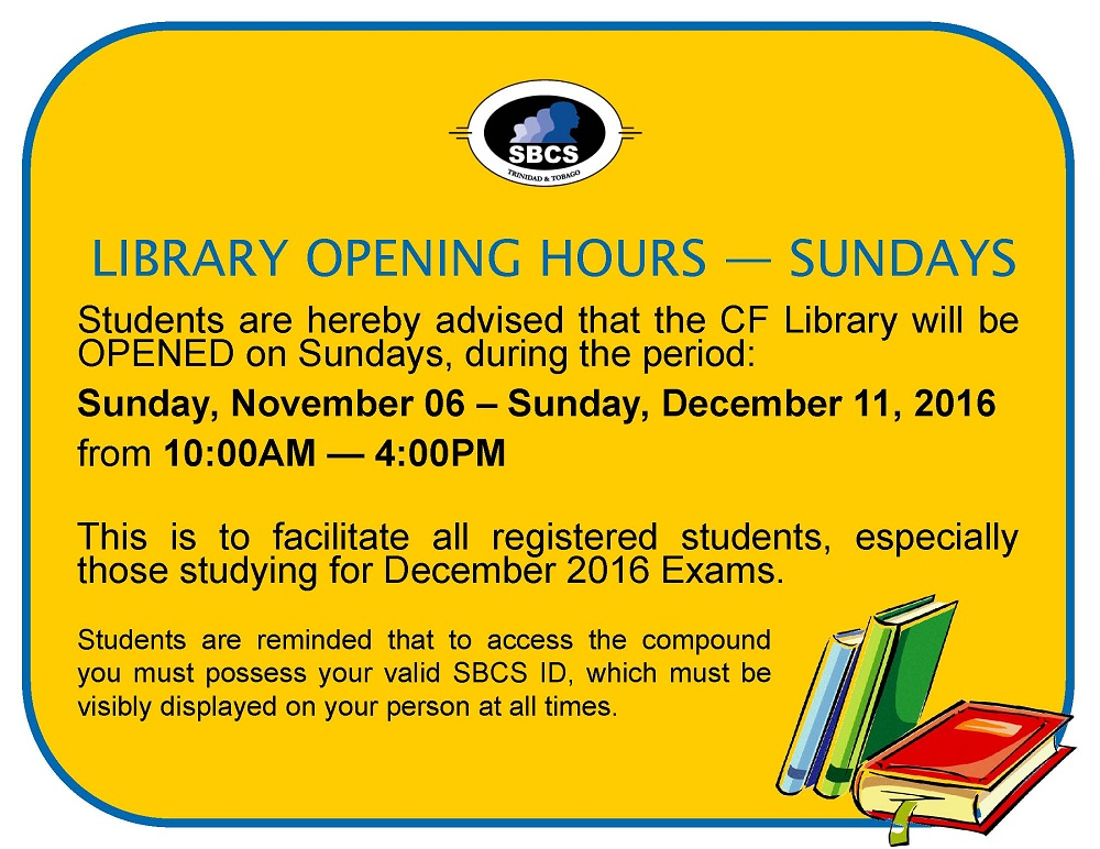 Library Sunday opening hours